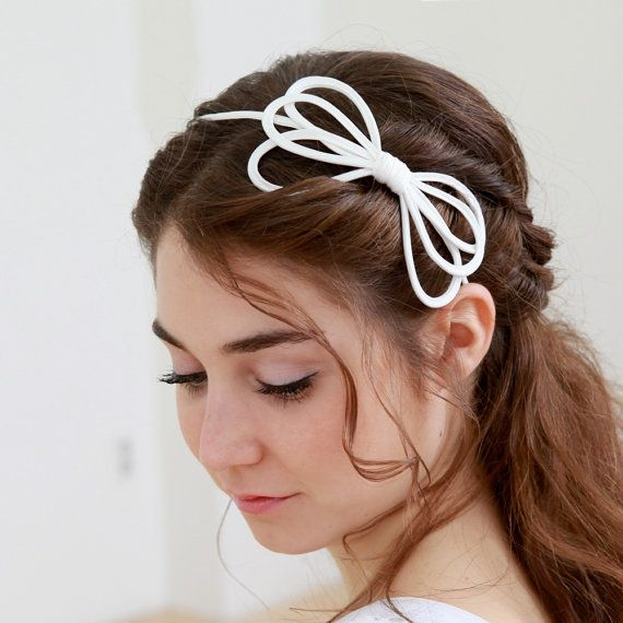 STYLE - #204 CODE:HDB017 Wired bow is a sweet headband made of crepe de chine piping, wire is inserted and  hand-shaped to lovely floral shape. To order yours, contact us on loca@localoca.co.za www.localoca.co.za
