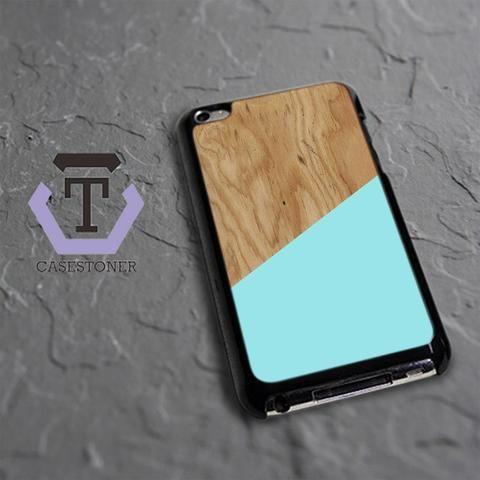 Wood Texture Blue Mint iPod 4 Black Case