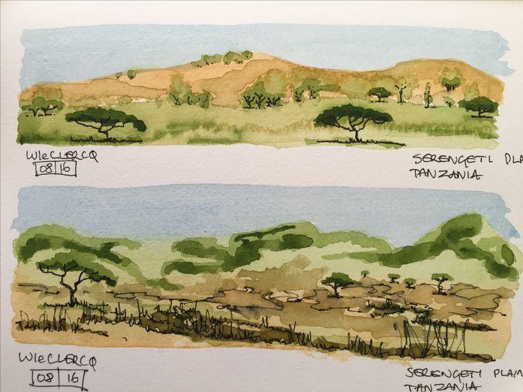 Serengeti, Tanzania Watercolour first, then ink