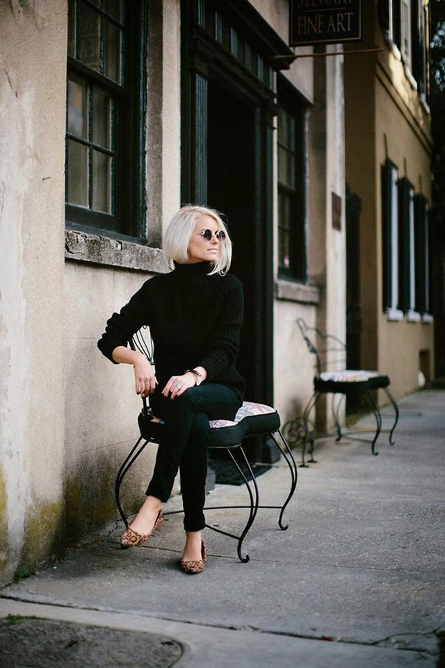 Love the black on black with leopard flats. classic!