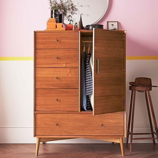 West Elm Mid-Century Chifforobe, Acorn Hotel Guest Room Drawers Single Wardrobe in Home, Furniture & DIY, Furniture, Chests of Drawers | eBay!