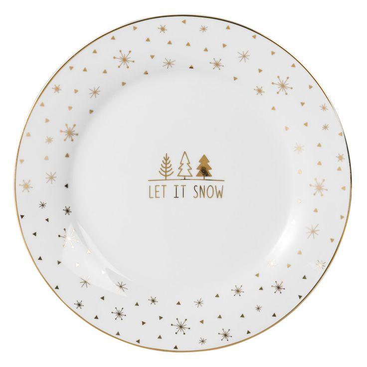 Assiette Verte Maison Du Monde #12: Assiette à Dessert En Porcelaine Motifs Dorés | Maisons Du Monde