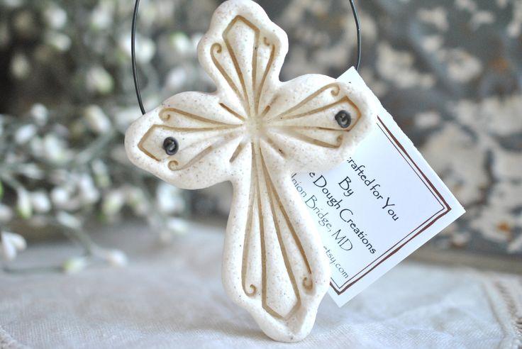 Ornate Imprinted Cross Salt Dough Ornament