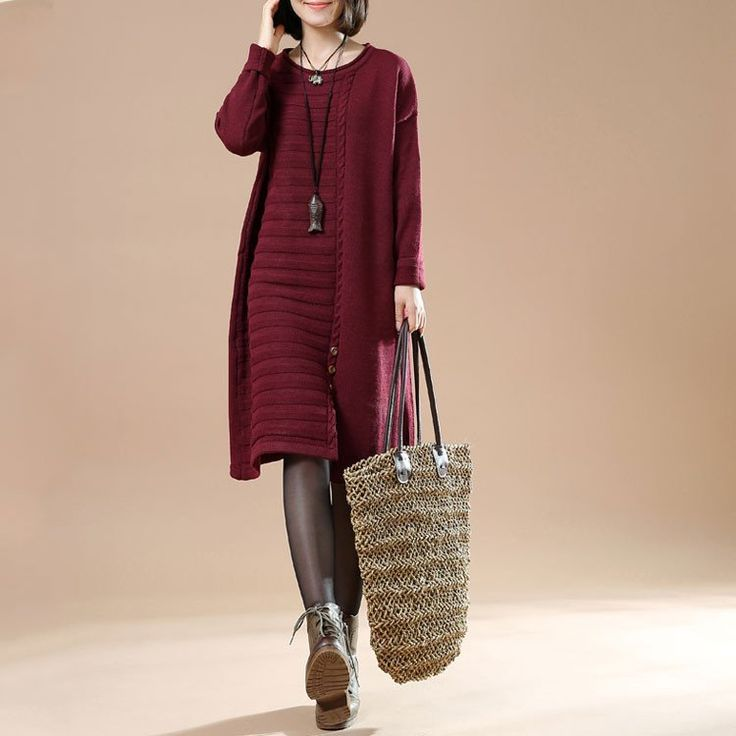 Autumn Women's Casual Long Sleeve Round Neck Pullover Dress