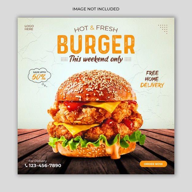 Fresh Burger Social Media Post Advertising Banner Template Burger Food Advertising Food Design