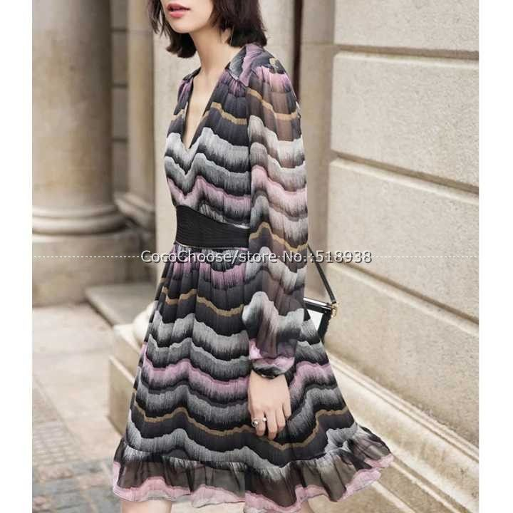 New 2017 spring summer sexy fashion women silk dress geometric striped print v-neck embroidery waist chiffon dresses blue pink
