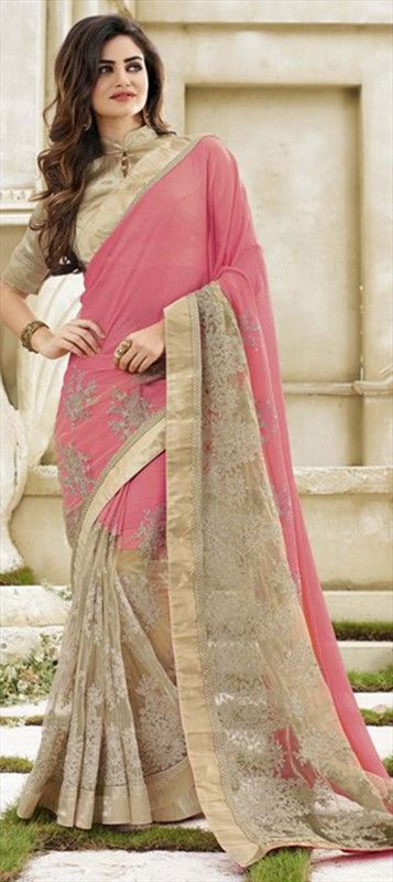 182613 Pink and Majenta  color family Embroidered Sarees, Party Wear Sarees in Faux Georgette fabric with Lace, Machine Embroidery, Thread work   with matching unstitched blouse.