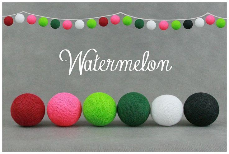 Nya kombinationen - Watermelon. Ljuvlig #ljusslinga #cottonballs#harmoni#home#hem#inreding#hjem#fairtrade