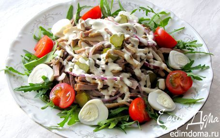 Салат с языком и грибами | Кулинарные рецепты от «Едим дома!»