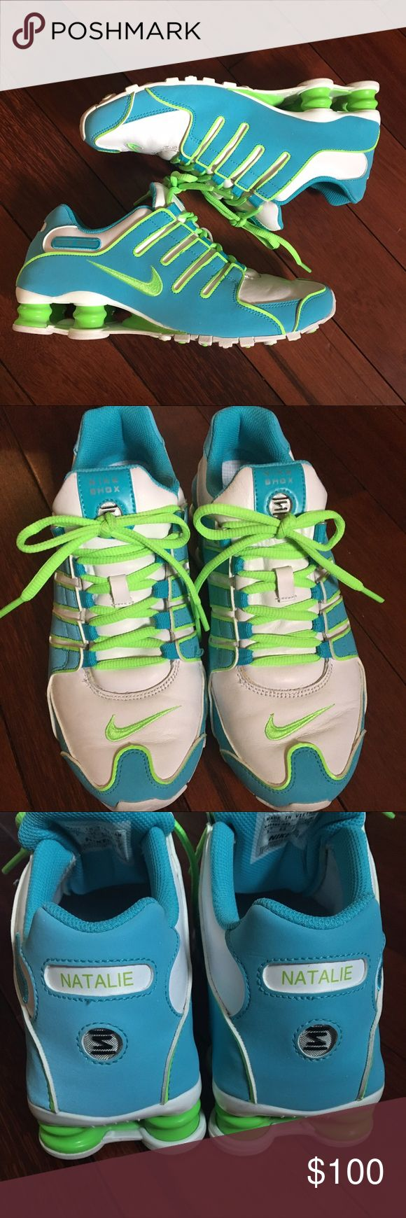 """NWOT Customized Nike Shox tennis shoes Brand new condition!! Worn once! Women's customized Nike iD Shox tennis shoes, size 9! Has blue, lime green and white detailing. Only flaw is that since these are Nike iD's, they say """"Natalie"""" on the back of the shoe. So if your name is natalie, or someone you know, these would be perfect! You could always have the name removed as well! Willing to negotiate price, so make offers:) ALSO bundle 2 or more items and get 10% off!😊 Nike Shoes Athletic Shoes"""