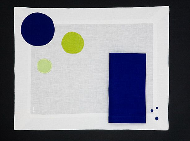 PLACEMAT BUBBLE - Blue chartreuse
