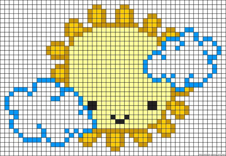 Free Sun & Clouds hama perler bead pattern or cross stitch chart