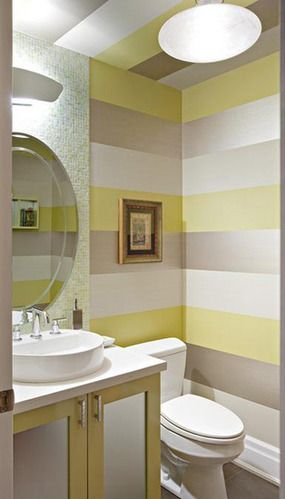light yellow wall paper in bathroom
