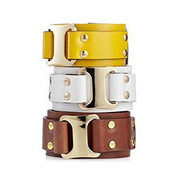 Add an edgy touch to daytime outfits with these leather and metal bracelets