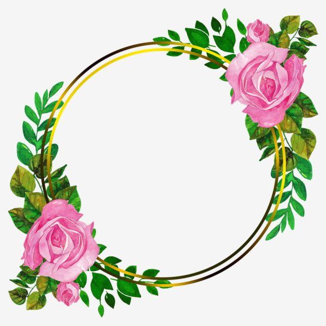 إطار ذهبي دائري مع ورود مائية وردية وبعض الأوراق عرس العنصر ذهب اوراق اشجار Png وملف Psd للتحميل مجانا Watercolor Rose Pink Watercolor Gold Frame