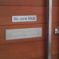 'No Junk Mail' Sign - 50mm x 200mm House Signs