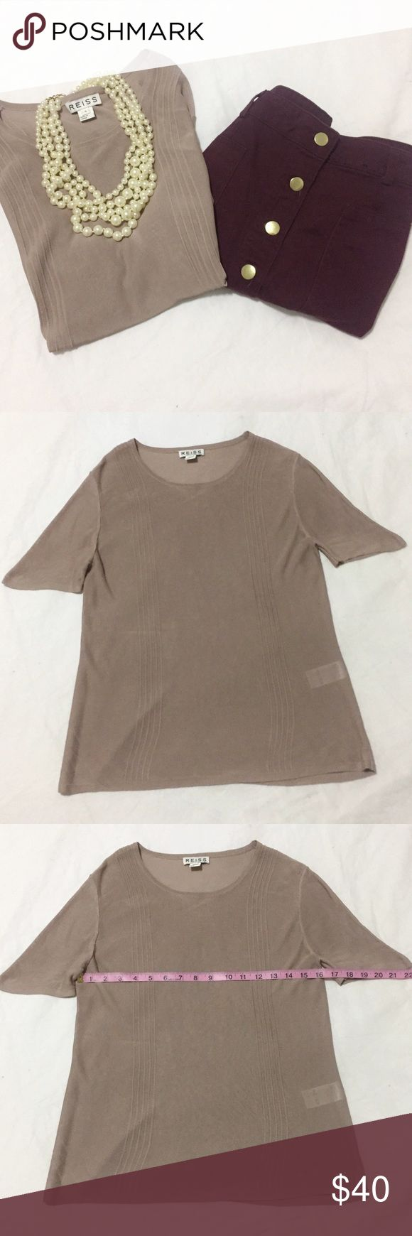 Reiss | Beige Sheer Short Sleeve Shirt | Size: S Reiss | Beige Sheer Short Sleeve Shirt | Size: Small | Great Condition | True to Size | No Wear or Damage | Pet/Smoke Free Home | See Photos for Measurements Reiss Tops Blouses