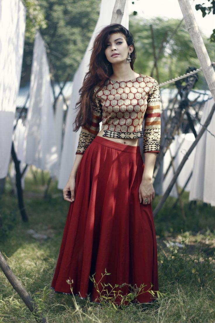Blockprint chanderi crop top with flared skirt