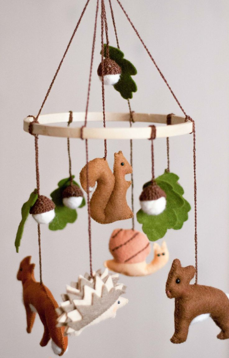 Marvelous Woodland Mobile Baby Mobile Woodland Nursery Decor Wool Felt Mobile Forest Mobile