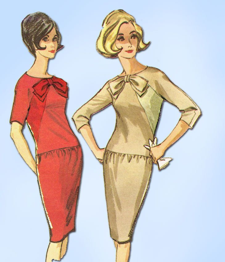1960s Vintage McCalls Sewing Pattern 7494 Misses Mid Mod Dress Size 12 32 Bust #McCalls #DressPattern