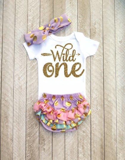 Wild One Purple and Gold First Birthday Outfit