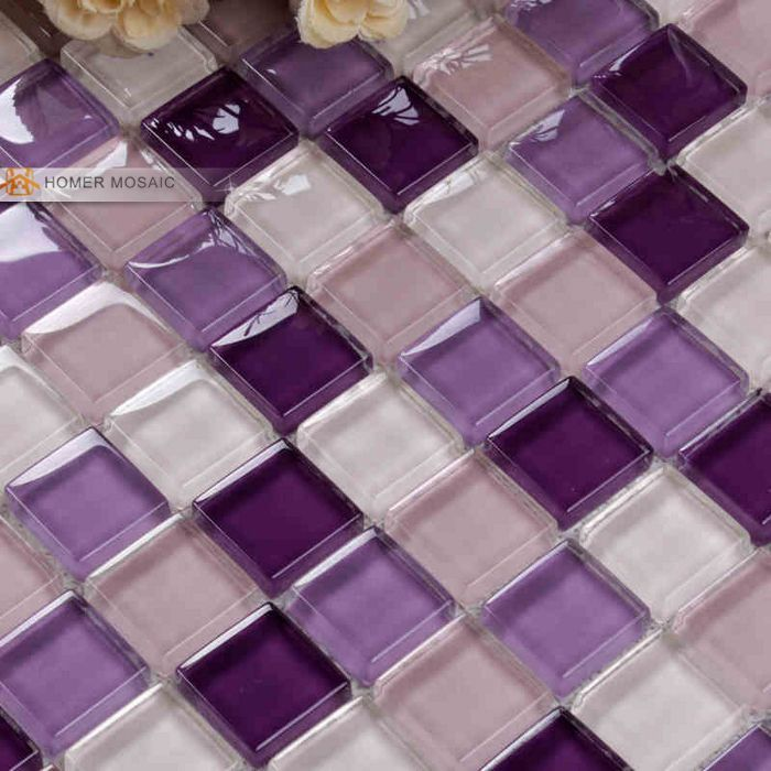 Purple color crystal glass mosaic glass tiles for kitchen for Purple glass bathtub