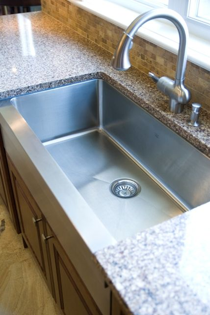 Farmhouse stainless steel sink with granite countertop for Stainless steel countertop with built in sink