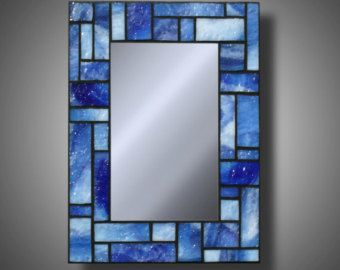 """Blue Stained Glass Mosaic Mirror made with Uroboros Glass, 8"""" x 11"""""""