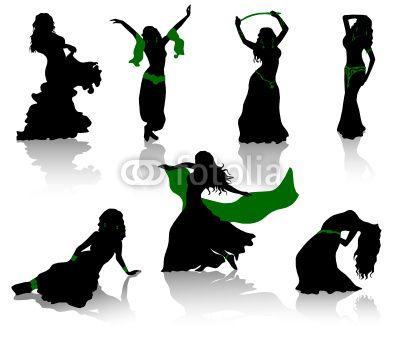 Danza del vientre. Siluetas de bailarines de belleza.