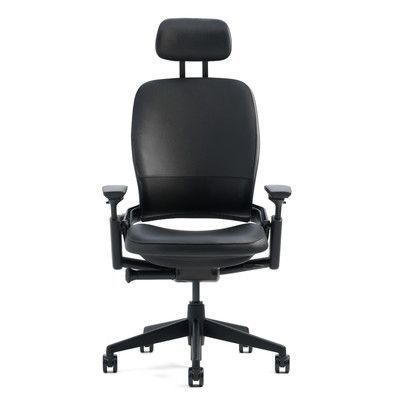 Steelcase Leap® High-Back Leather Desk Chair Upholstery: Steelcase Leather - Black, Arms: Not Included, Casters: Standard Carpet Casters, Frame Fin...
