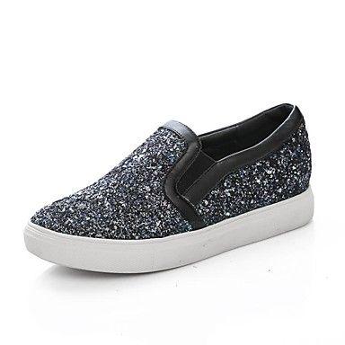 zapatos de las mujeres del dedo del pie redondo holgazanes brillo bajo el talón de los zapatos más colores disponibles – USD $ 39.99