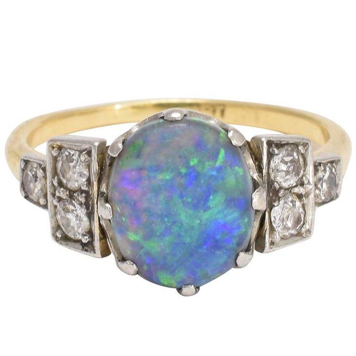 Art Deco Black Opal Diamond Ring 1