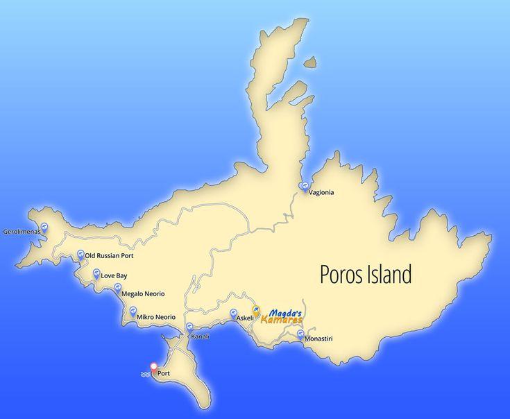 Poros map of beaches