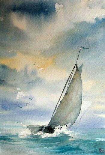 sailboat in watercolor