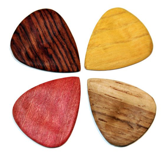 4 Pack of Wood Guitar Picks on Etsy, $21.00