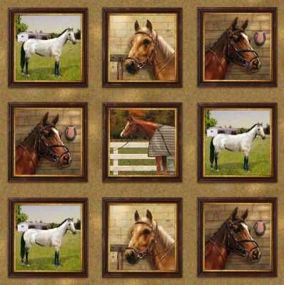 SPX World of Horses by Giordano Studio 25322 Squares $9.99/yd