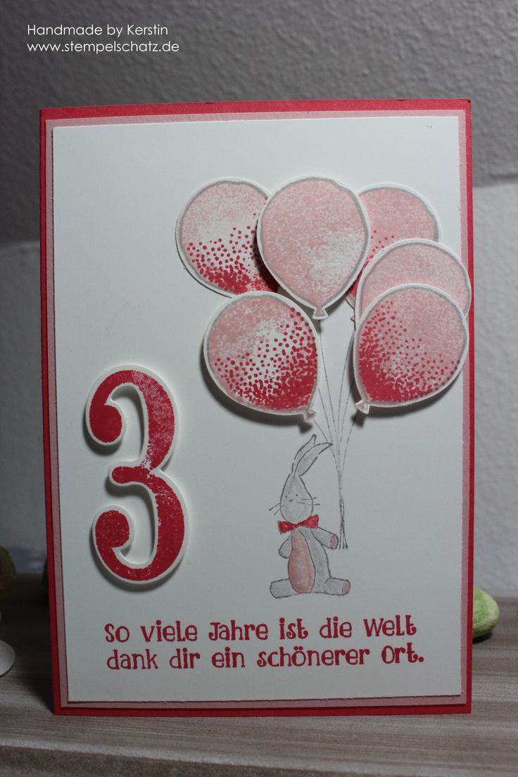 Stampin up, 3. Geburtstag, Partyballons, So viele Jahre