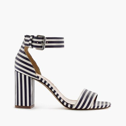 "Need a lift? These strappy sandals have a just-right height—so yes, you can wear them to work and to drinks after. Crafted in Italy, this pair features spring-perfect stripes. <ul><li>3 3/8"" heel.</li><li>Leather upper and lining.</li><li>Made in Italy.</li></ul>"