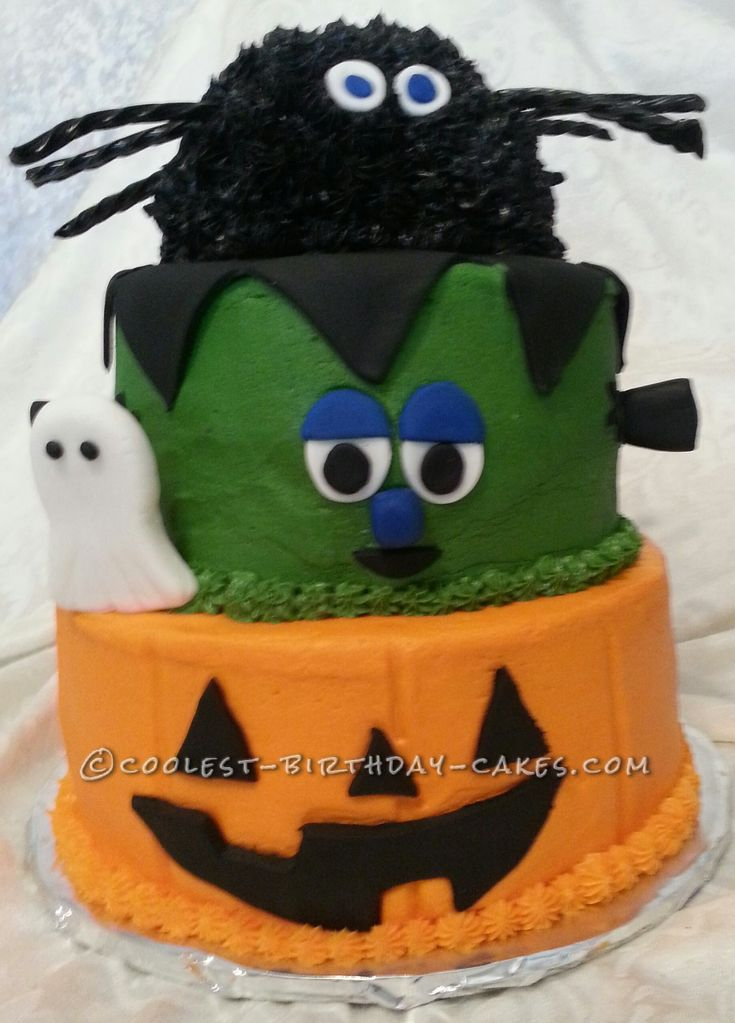 coolest 3 tier halloween party cake - Simple Halloween Cake Decorating Ideas