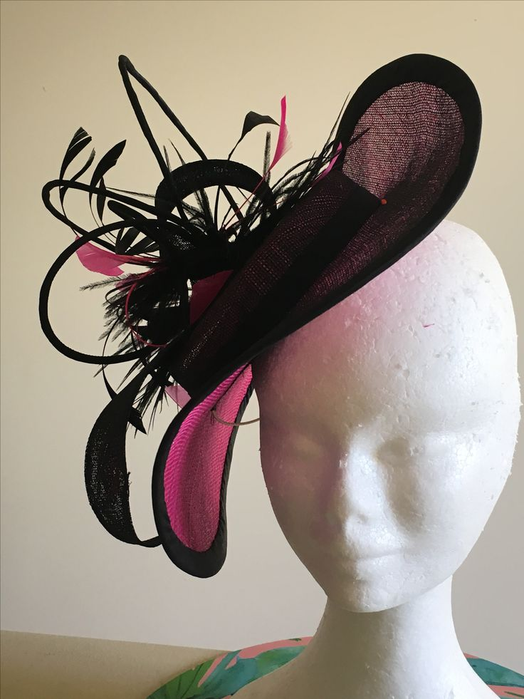 Pink and black mini hat