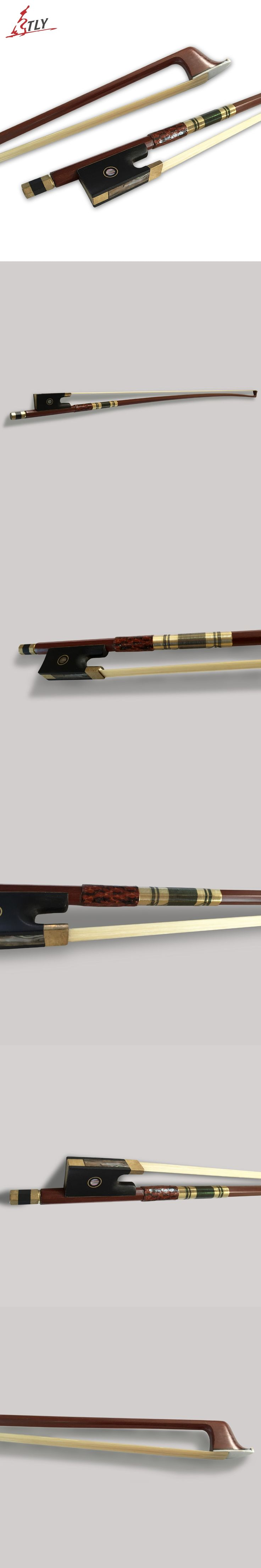 Factory Store 4/4 Violin Bow Ebony Frog w/ Colored Shell Snakeskin Wrapped Straight Brazilwood Fiddle Violino Bow Violin Parts