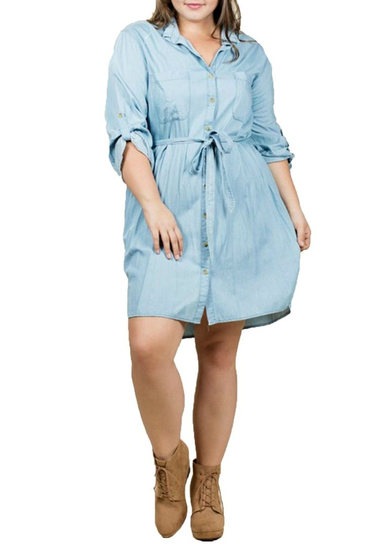 En Creme Women's Plus Size 3/4 Sleeve Button-Up Denim Dress