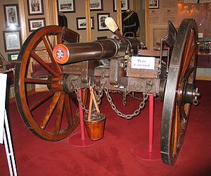 RBL 12 pounder 8 cwt.  The Armstrong Rifled Breech Loader 12lbr was the primary artillery piece of the British Army from 1859-1871. The first standard issue breech-loader, it was faster and more accurate than previous models.  However, the Armstrong gained a reputation for being unreliable, and in 1871 was replaced by simpler muzzle loading pieces. The Armstrong was used in the Second Opium War and the New Zealand Land Wars.