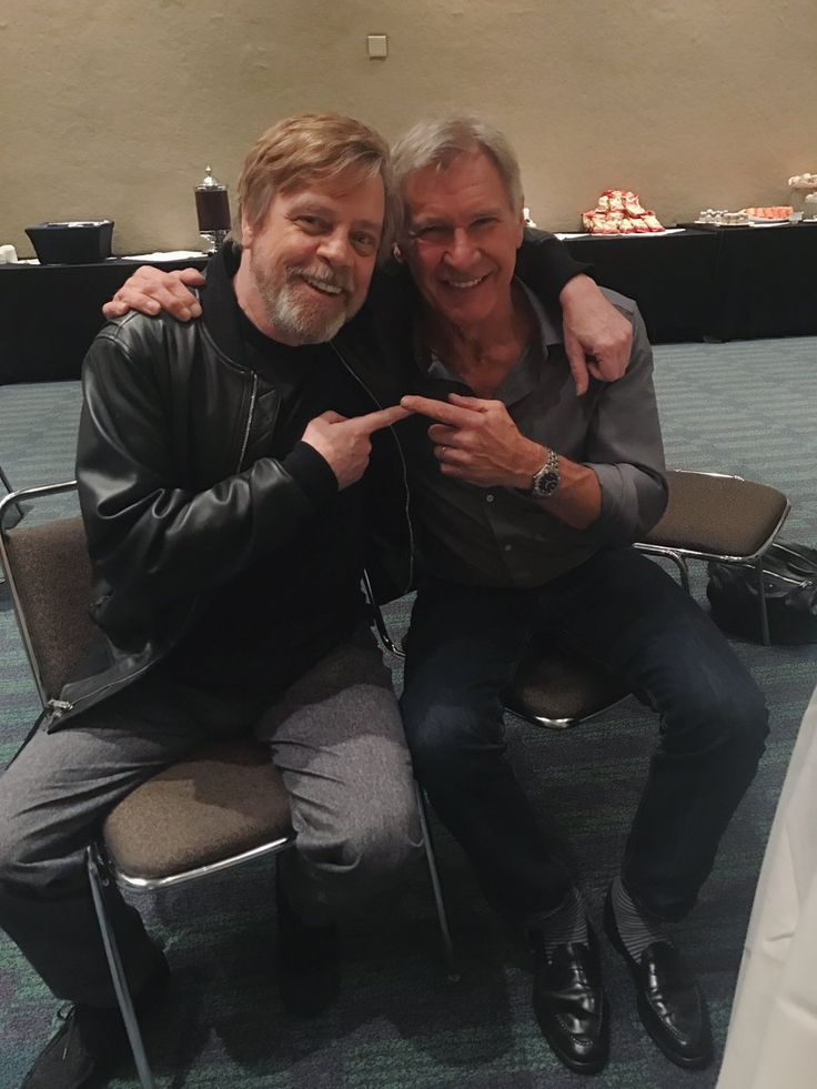 Here's the Luke and Han Reunion Force Awakens Refused to Give Us ~ Mark Hamill & Harrison Ford | from MH's Twitter via Movie Web