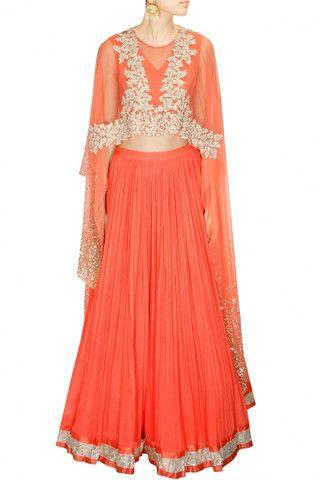 Ridhi Mehra Coral Lehenga Choli – Panache Haute Couture
