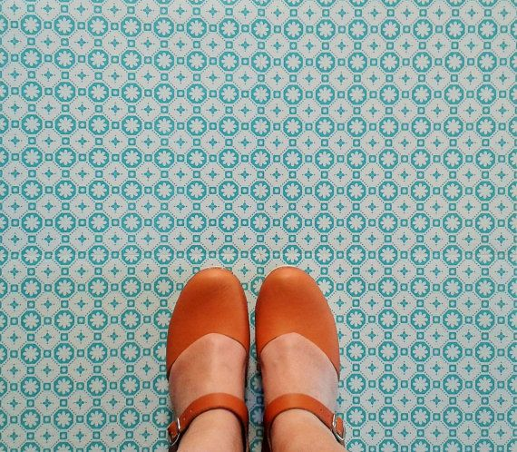 Please see additional listing for ordering samples  Beautiful and durable retro-styled vinyl floor tiles from France. They are self-adhesive so they couldnt be easier to lay, they are comfortable under foot (without the chill of ceramic tiles!) and they would look great in a hallway, a kitchen or bathroom or just about anywhere!  As with the handcrafted encaustic tiles that these are designed to emulate it is impossible to cut the tiles with millimetre precision and as such you will find…