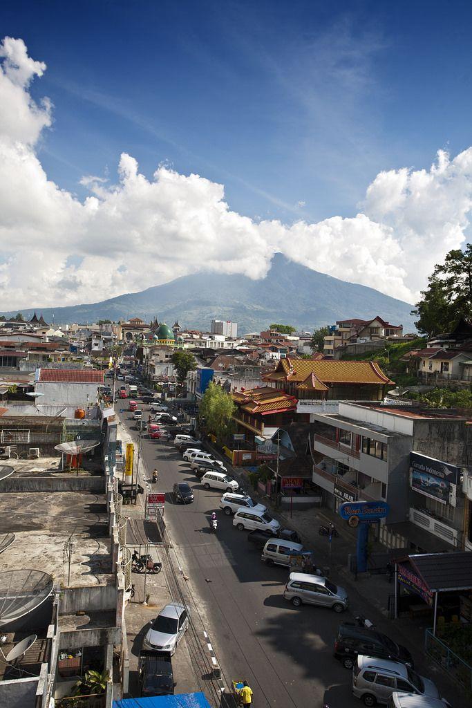 Jalan Ahmad Yani, and Singgalang Volcano | Bukittinggi, Sumatra, Indonesia