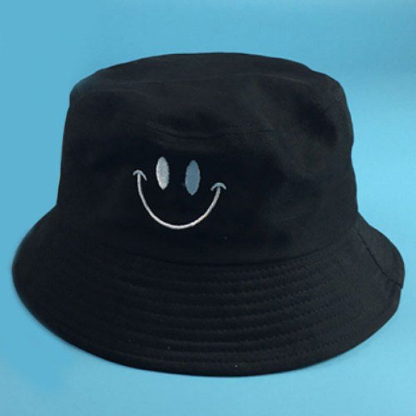 Stylish Smilling Face Embroidery Flat Top Men's Bucket Hat #shoes, #jewelry, #women, #men, #hats, #watches, #belts