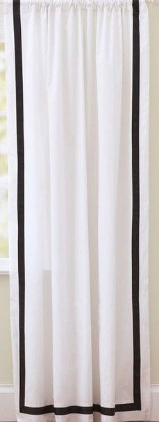 "Two  96"" x 50""  Custom  White Curtain Panels with Trim -   Black/Grey/Turquoise/Baby Pink/Hot Pink/Navy/Apple Green/Orange by onlylinens on Etsy https://www.etsy.com/listing/174321328/two-96-x-50-custom-white-curtain-panels"