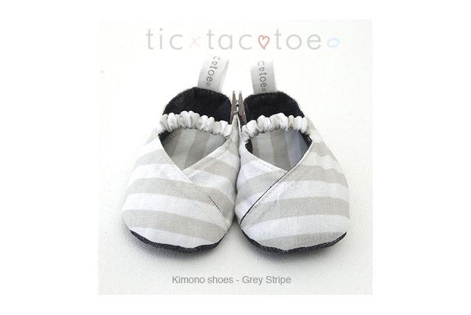Kimono Reversible Shoes - Grey Stripe by Tic Tac Toe on hellopretty.co.za